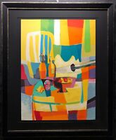 "Marcel MOULY Original Embossed Lithograph ""Guitare Juane"", Large, Signed, COA"