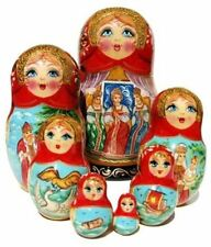 Russian Matryoshka Beauties 7 Piece Wooden Hand Painted Gift Stacking Doll Set