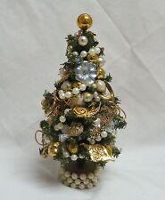 "OOAK 9"" DECORATED CHRISTMAS TREE VTG JEWELRY MERCURY GLASS BALL RHINESTONE"