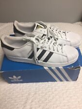 Adidas Mens 19  White With 3 Black Stripes Superstar Athletic Shoes NIB