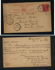 Gibraltar  nice postal card to US  1891           MS1020