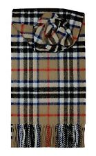 THOMPSON CAMEL TARTAN SCARF 100% LAMBSWOOL  by LOCHCARRON