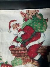 Christmas Santa Sack Cushion Cover Rooftop Chimney Scene Tapestry 43x43cm