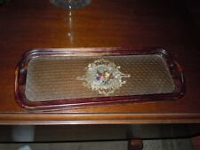 vintage Hand Made Wood and Glass Serving Tray Needle Point  flower