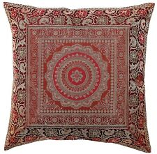 "16"" Indian Mandala Brown Cushion Pillow Cover Brocade Sofa Throw Home Decorative"