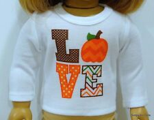 "HALLOWEEN & FALL LS ""LOVE"" DOLL T-SHIRT fits 18"" AMERICAN GIRL Doll Clothes"