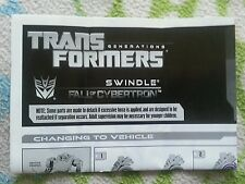 Transformers FALL OF CYBERTRON SWINDLE INSTRUCTION BOOKLET ONLY