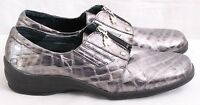 Helle Comfort Spain Silver Zipper Slide On Loafers Women's Euro 42 US 10.5-11
