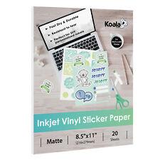 Koala 20 Sheets Inkjet Matte Vinyl Sticker Waterproof Printable Paper 8.5x11 DIY