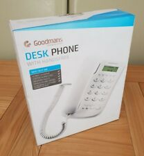 Goodmans Desk Phone Hands-Free Speaker LCD Display Volume Control Redial - White
