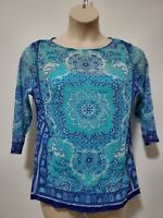 CHARTER CLUB Women's Plus 1X 3/4 Sleeve Green/Blue Print Sheer Top Blouse 2 Pc