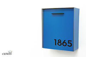 Modern Mailbox Blue Aluminum Face and Body with Black Acrylic Numbers - Type 2