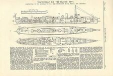 1914 prints of a torpedo boat for the spanish navy ! ( machinery prints )