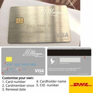 Custom Palladium Silver J.P. Morgan Metal Gift Card w/ magnetic stripe and chip