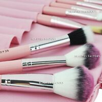 12PCS Wood Make up Brushes Kit Professional Cosmetic Makeup Brush Set Pink #306U