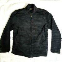 Mountain Lake Womens Zip Up Plush Jacket Black Zebra Textured Size Medium CL