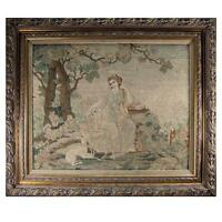 """Fine Antique Petitpoint Needlepoint Tapestry in Frame, 27"""" x 23"""", Diana & Hounds"""