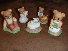 Homco Home Interior 5 Piece Teddy Bear Picnic Basket & Dog #1462