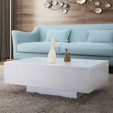 85cm Modern High Gloss White Coffee Table Rectangle Living Room Furniture