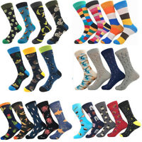 Mens Combed Alien Striped Cotton Socks Animal Floral Novelty Casual Stockings #B