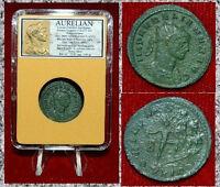 Ancient Roman Empire Coin AURELIAN Sol Holding Globe Foot On Seated Captive!