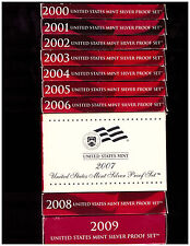 2000 - 2009 SILVER PROOF SETS - DCAM COINS -  ALL  BOXES & COA's - FREE SHIPPING
