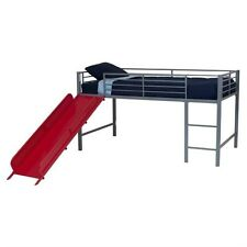 DHP Junior Metal Twin Loft Slide Bed in Silver and Red Transitional Bunk