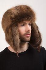 Brown Beaver Full Ushanka Hat Top Trapper Aviator Saga Furs Hat
