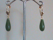14 kt Gold Leverback Earrings Fine Taiwan Green Jade Drop Earrings All 14kt Gold