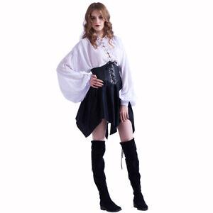 Womens Gothic Black Corset Skirt Punk Faux Leather Waist Cincher Bustier Skirt