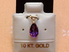 Exclusiver Amethyst Anhänger - mit Krone - 10 Kt. Gold - 417 - Tropfen Schliff
