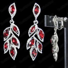 RED CRYSTAL chandelier EARRINGS pierced/clips MARQUISE LEAF silver rhinestone