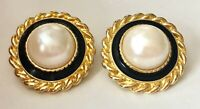Vintage PARK LANE Gold Tone Rope Black Enamel Faux Pearl Clip On Earrings