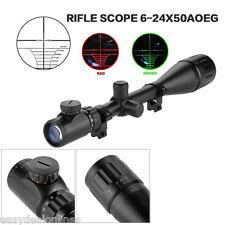 6-24x50 AOEG Rojo y Verde Rifle Scope Mira Telescopica Alcance para Caza Visión