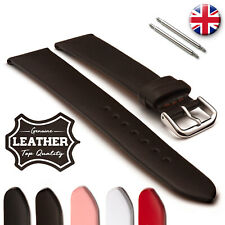 Thin Flat Genuine Leather Watch Band Strap with Plain Smooth Finish
