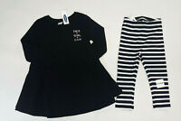 NWT Old Navy Toddler Girls 18-24 Months or 3t Black Dress & Striped Leggings
