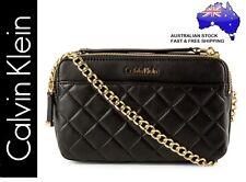 Calvin Klein Ck Key Item Tote Quilted Lamb Soft Leather Handbag Bag - Black