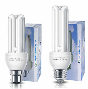 Energy Saving CFL 3U Light Bulbs BC Bayonet B22 or ES E27 Cap