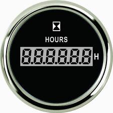 """2"""" 52mm Black Digital Clock Time Hour Meter Gauge 9-32V w/Backlight Chrome Bezel"""