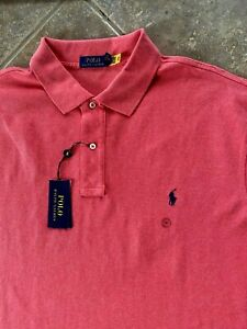 Polo Ralph Lauren Mesh Polo Shirt Mens S Red w/ Navy Pony Classic Fit NWT $98