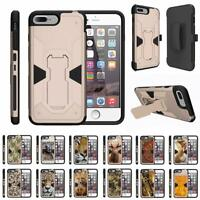 "For Apple iPhone 8 Plus Case (5.5"") Holster Belt Clip Kickstand Armor Gold Cover"