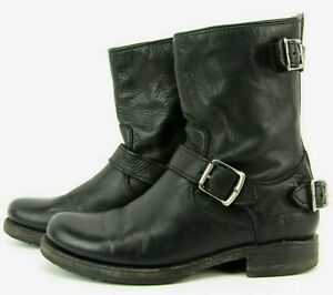 Frye Leather Veronica Short Black Slouch Ankle Boots Sz 7 B