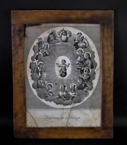 orig. BIEDERMEIER Rahmen mit Litho 14 Heilige Jean Fréderic WENTZEL (1807-1869)