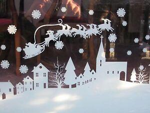 Christmas Santa Window Sticker / Xmas Window Scene Decoration - Cut to length