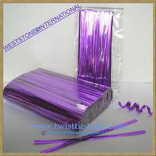 """1000pcs 4"""" Purple Metallic Twist Tie for Candy Lollipop Cello Bag"""