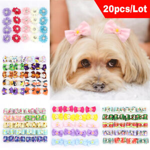 100pcs Pet Grooming Hair Bows with Rubber Bands Xmas Halloween Festival Topknot