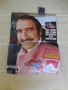 Clay Regazzoni -Ferrari driver-Original 1970s brochure poster-ITALIAN MAGAZINE