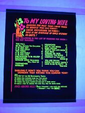 Vintage Psychedelic Blacklight Poster TO MY LOVING WIFE Funny Husband Wife Sex