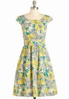 Modcloth Emily and Fin Day after Day A Line Dress Sketched Garden Floral size S
