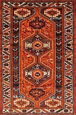Excellent Geometric Tribal Bright Orange Qashqai Wool Runner Rug Hand-made 4'x9'